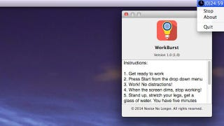 Illustration for article titled WorkBurst is a Simple, Screen-Dimming Pomodoro Timer for Mac