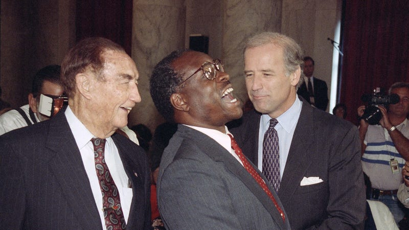 Supreme Justice Clarence Thomas laughs with Senators Strom Thurmond and Joe Biden prior to Thomas' confirmation hearing/AP Images.