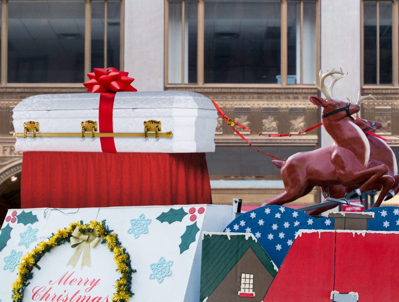 Illustration for article titled Macy's Concludes Thanksgiving Day Parade With Traditional Procession Of Santa's Coffin