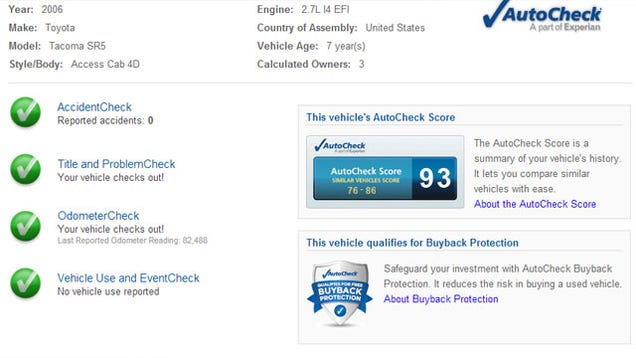 Dealer Autocheck Inurl Vin >> Get a Free Vehicle History Report Before You Buy a Car