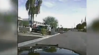 Dash-cam video showing the cruiser about to hit suspect Mario Valencia YouTube screenshot