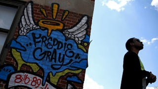 A Freddie Gray memorial May 3, 2015, in Baltimore, two days after authorities released a report on the death of Gray while in police custodyPatrick Smith/Getty Images