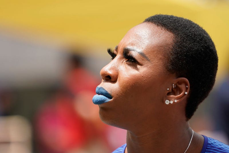 Gwen Berry of the United States reacts in the Women's Hammer Throw during the Seiko Golden Grand Prix at Yanmar Stadium Nagai on May 19, 2019 in Osaka, Japan.
