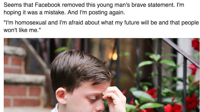 Illustration for article titled Facebook Removes Humans of New York's Picture of Gay Teen, Bans Posting