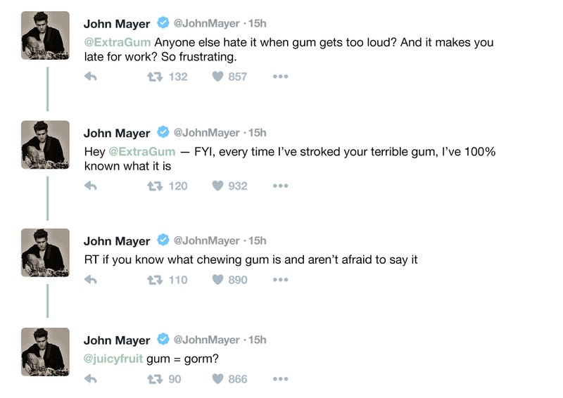 Uh Oh: Did John Mayer Forget What Chewing Gum Was Partway