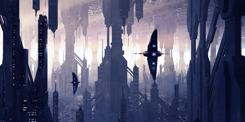 Illustration for article titled In an Upside Down City, Bat-Winged Ships Fly