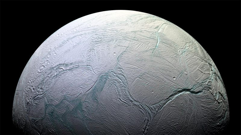 Saturn's moon Enceladus. Beneath its icy crust lies a vast global ocean, making it an intriguing candidate for alien life in our own solar system.
