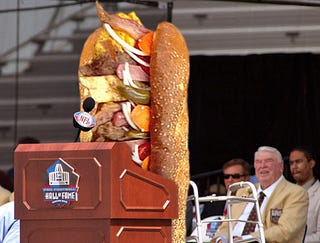 Illustration for article titled Hall Of Fame Inductee John Madden Introduced By Favorite Sandwich