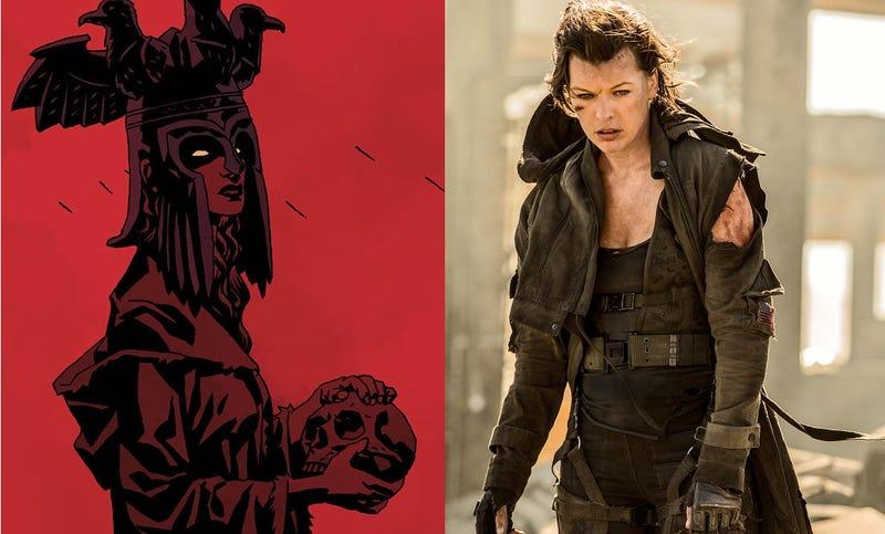 """A la izquierda, imagen de la """"Reina de la Sangre"""" de Hellboy. A la derecha, Milla Jovovich en su mítico papel en la saga Resident Evil."""