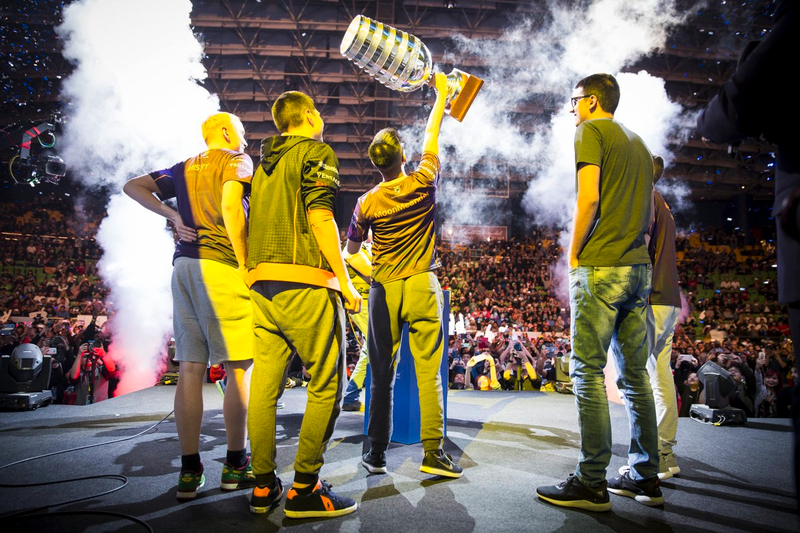 Digital Chaos in front of the crowd in Malaysia after winning their first big tournament. Credit: ESL.