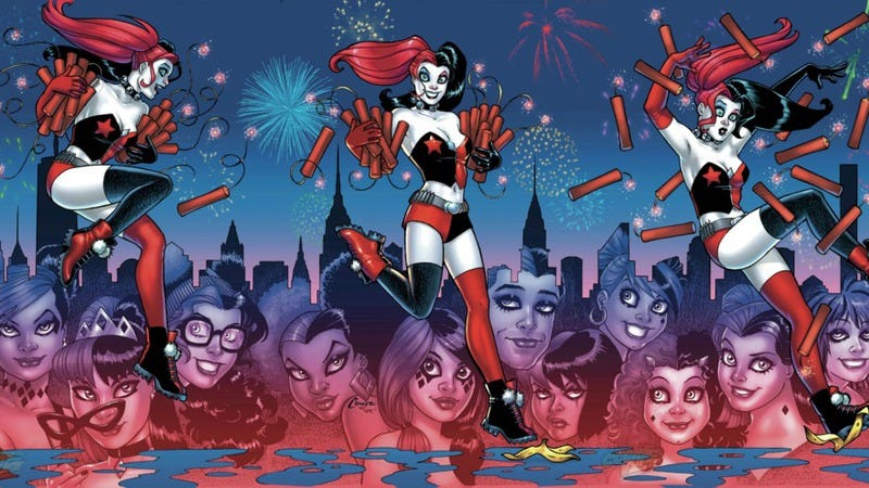 Illustration for article titled Exclusive DC preview: The Gang of Harleys assembles in Harley Quinn #16