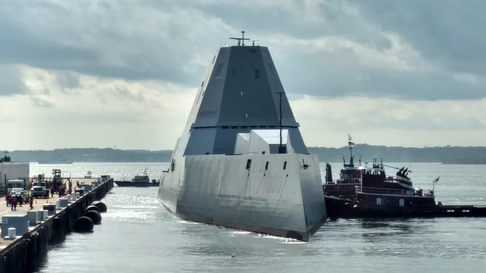 watch the u s navy s menacing zumwalt destroyer make its first port