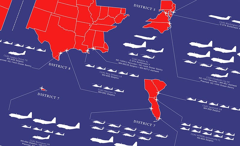 Illustration for article titled This Awesome Graphic Shows The Coast Guard's Aircraft And Basing