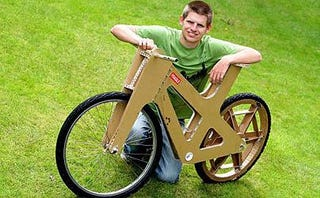Illustration for article titled Cardboard Bicycle Costs Just $30, Don't Leave It Out in the Rain