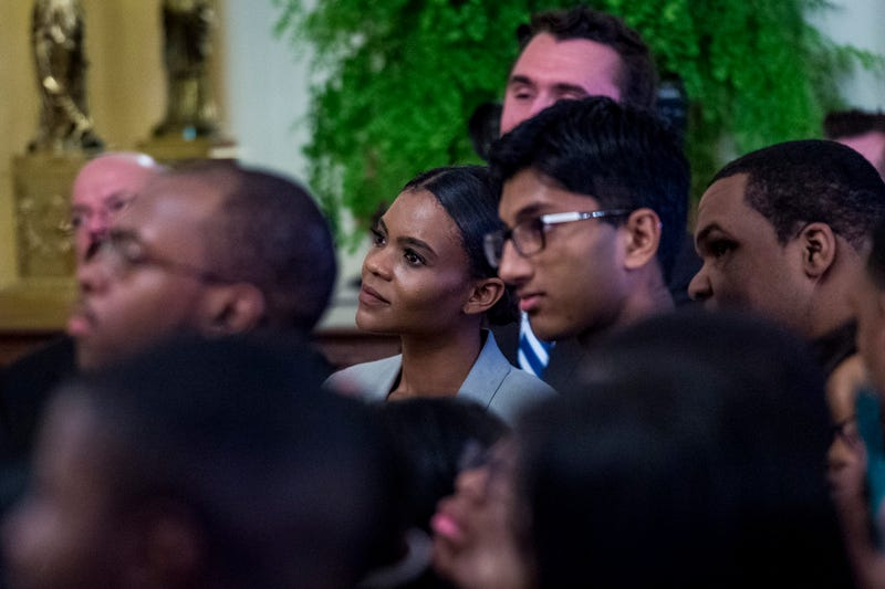 Turning Point USA communications director Candace Owens looks on as U.S. President Donald Trump addresses young black conservative leaders from across the country as part of the 2018 Young Black Leadership Summit at White House on October 26, 2018 in Washington, DC.