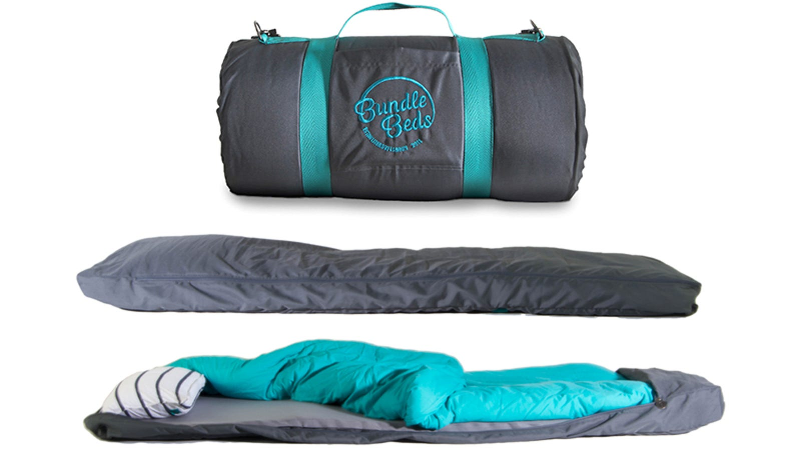 A Sleeping Bag With Built In Air Mattress Pillow And