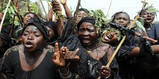 Nigerian women protest sectarian violence in May 2011. (Google)