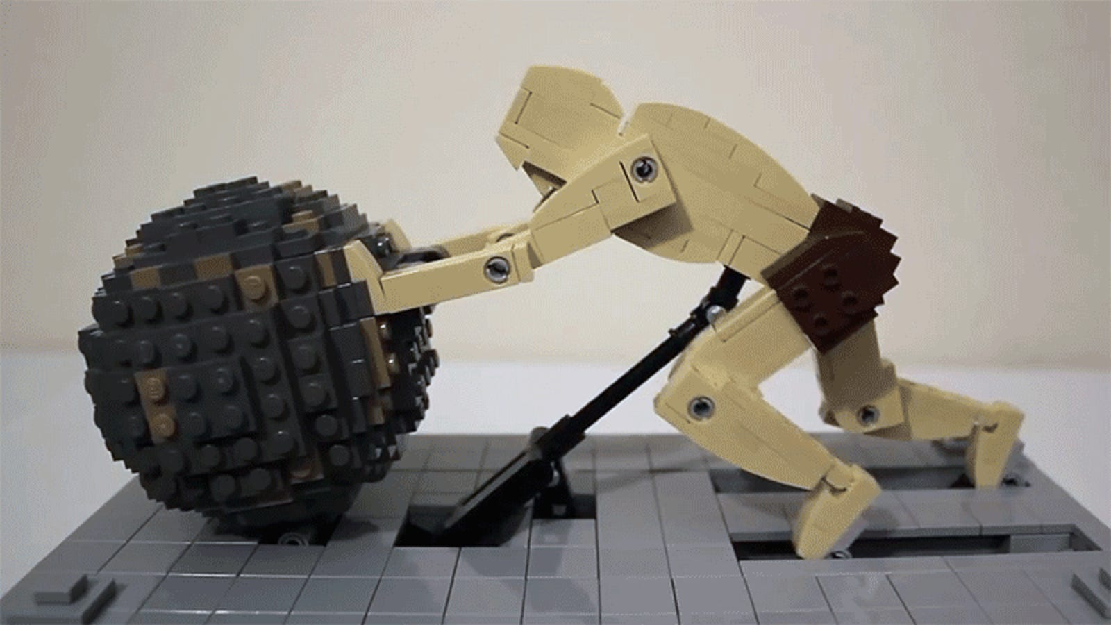 Watching a Lego Sisyphus Perpetually Push a Boulder Is Unimaginably Relaxing