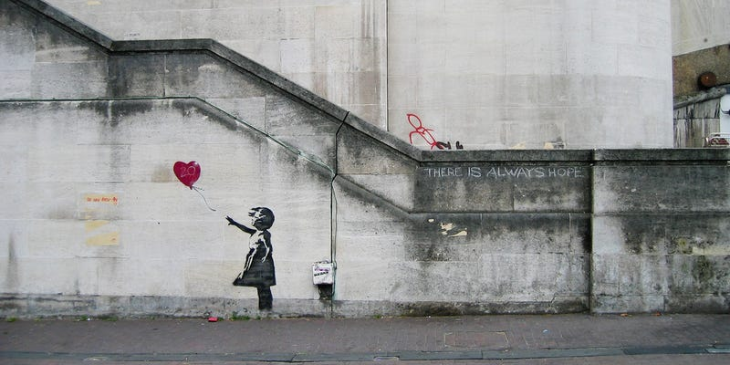 Banksy Girl and Heart Balloon. Credit: Dominic Robinson/Flickr/CC BY-2.0