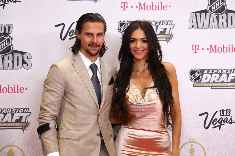 Erik and Melinda Karlsson at the 2017 NHL Awards last summer.
