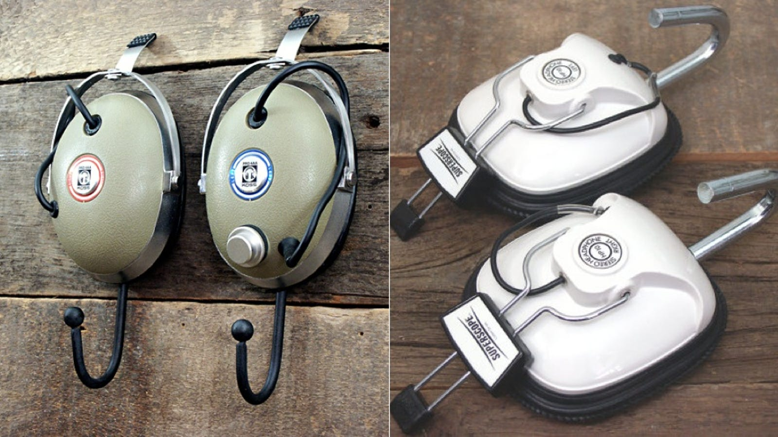 hard case travel case earbuds - Vintage Headphone Cups Make for Wonderful Coat Hooks