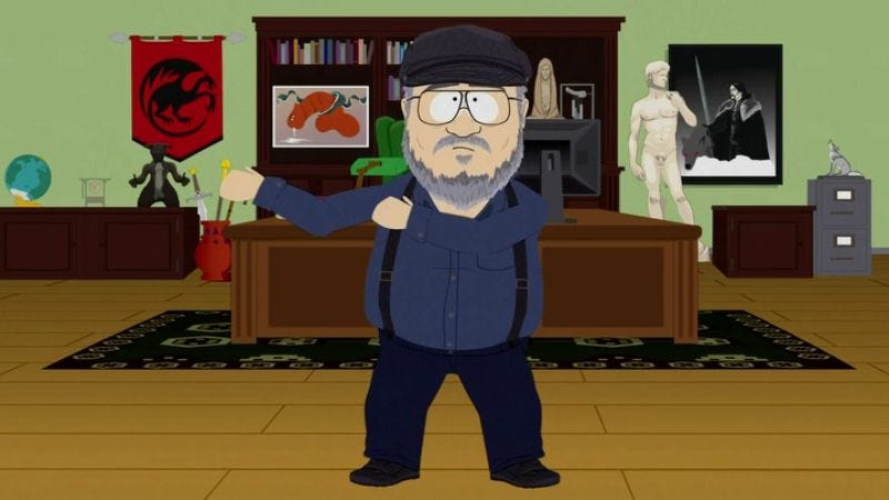 Illustration for article titled George R.R. Martin denies South Park's insinuation that he's obsessed with wieners