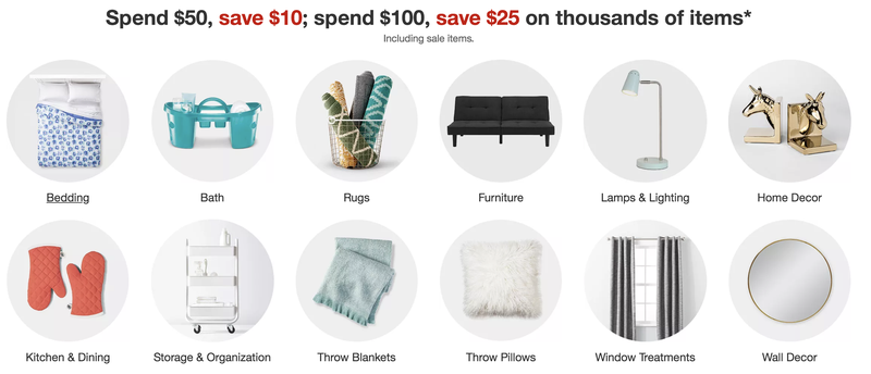 $10 off $50, $25 off $100 home good orders | Targe