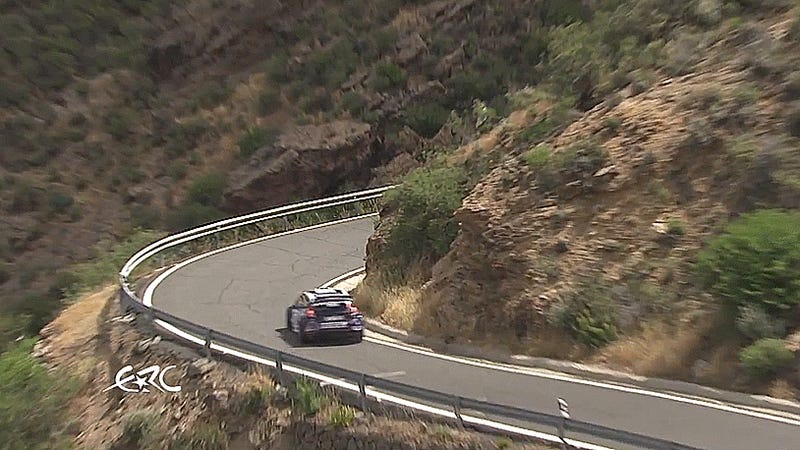 Rally car saved from rolling down a cliff by single metal