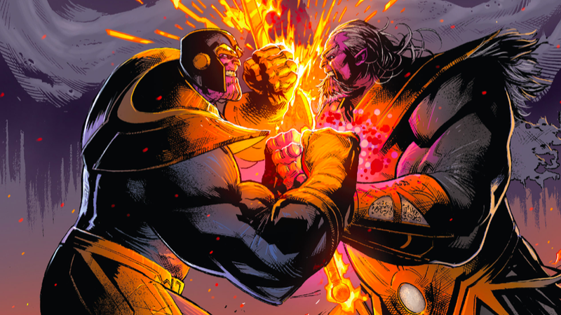 They always come back! It's Thanos vs. future Thanos in Donny Cates' Thanos #18, as envisioned by artist Geoffrey Shaw and colorist Antonio Fabela.