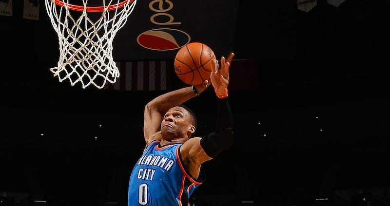 Illustration for article titled Russell Westbrook Dunked The Nuggets Out Of The Arena