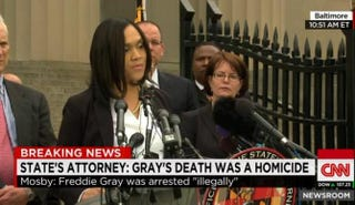 Baltimore City State's Attorney Marilyn Mosby at the press conference CNN screenshot