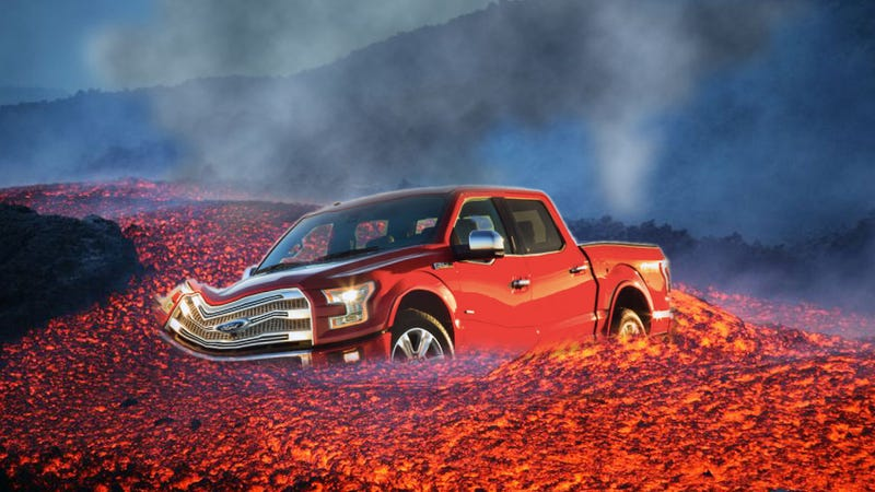 Illustration for article titled The New F-150 Is Not So Tough If You Drive Through Lava