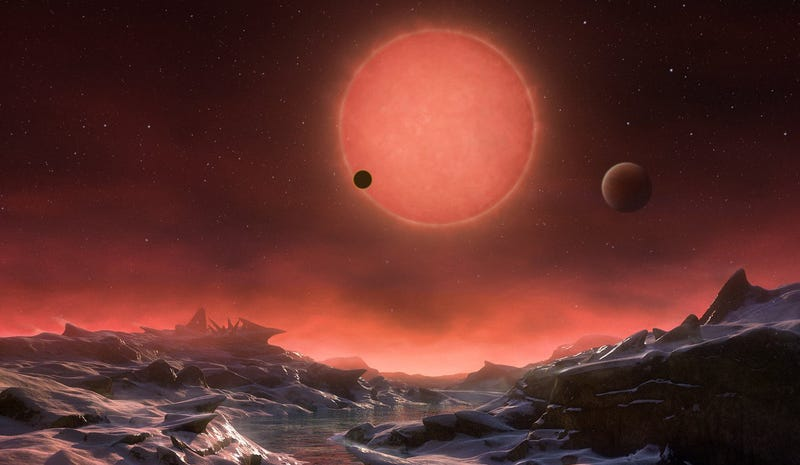 Artist's impression of the view from the surface of a planet orbiting TRAPPIST-1. Image: ESO/M. Kornmesser