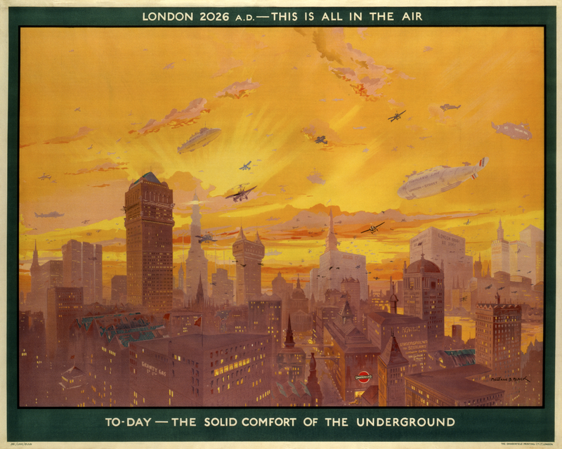 Illustration for article titled This 1926 Poster Predicts London's Transportation Future
