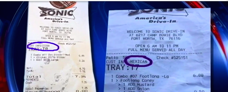 The receipts that Tyrone Moseley and his co-worker say they received after dining at a Fort Worth, Texas, SonicFox5DC