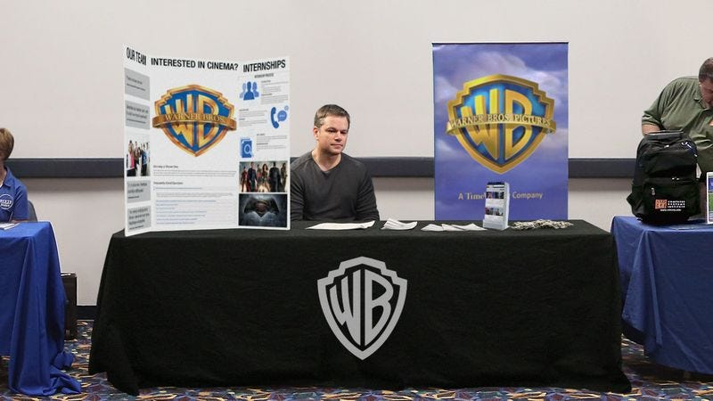 Illustration for article titled Matt Damon Mans Warner Brothers Booth At College Campus's Career Day