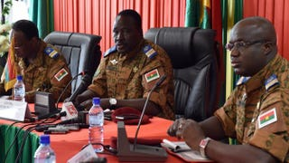 Burkinabe Lt. Col. Isaac Zida (center), named interim leader by Burkina Faso's army following the ouster of President Blaise Compaore, speaks during a meeting of soldiers and diplomats Nov. 3, 2014, in Ouagadougou, Burkina Faso's capital.ISSOUF SANOGO/Getty Images