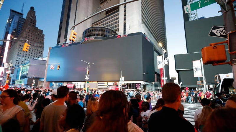 Darkened screens in Times Square on July 13, 2019.