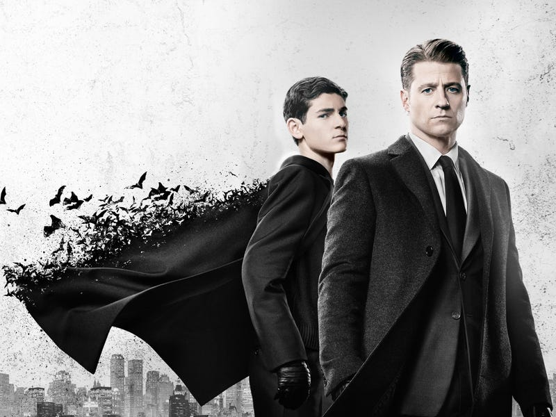 Bruce Wayne's (David Mazouz, left) jacket turning into bats while Jim Gordon (Ben McKenzie) broods is not one of the craziest things to happen this season.