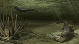 Illustration for article titled The ancient war between 20-foot crocodiles and 50-foot snakes