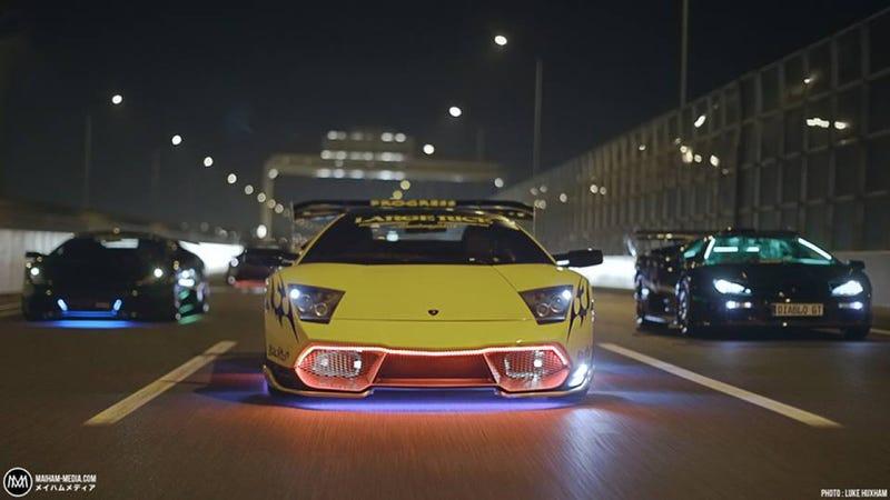 Meet A Japanese Gangster And His Flashing Neon Lamborghini