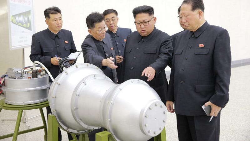 North Korean leader Kim Jong-un inspecting an apparent hydrogen bomb in 2017.