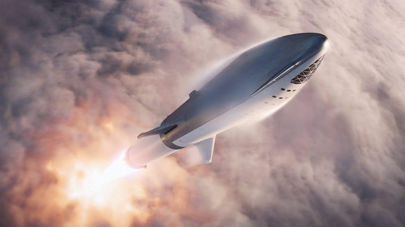 Illustration for article titled Elon Musk publica nuevas imágenes de su nave de 106 metros y 100 pasajeros para viajar a Marte