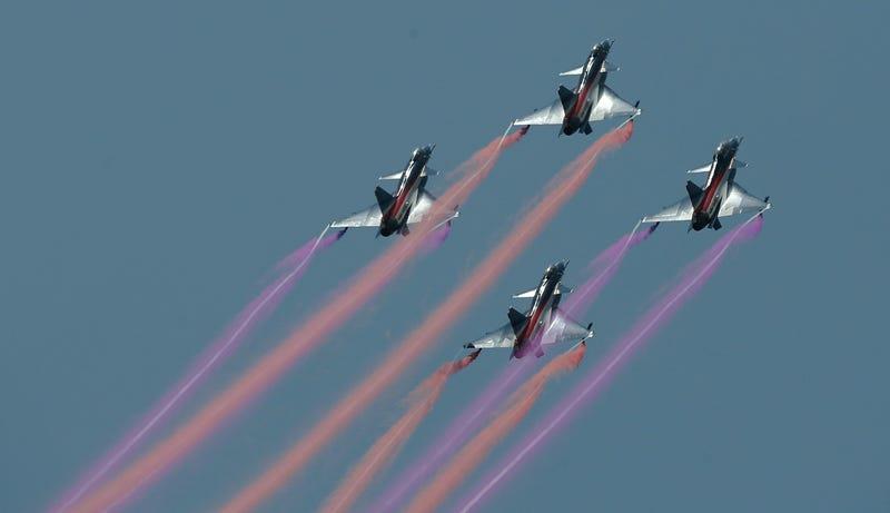 J-10 flight demonstration, via AP Images
