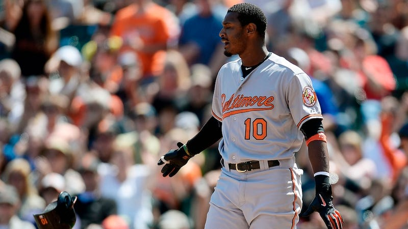 Illustration for article titled Adam Jones Says A Giants Fan Threw A Banana At Him