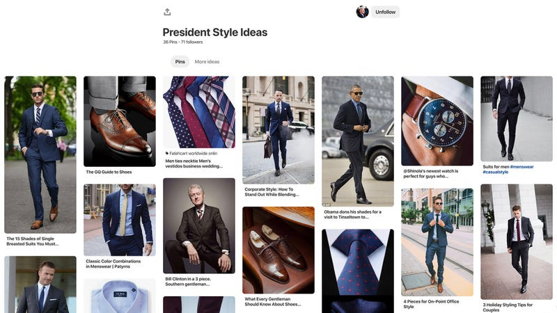 Illustration for article titled He's Running: Joe Biden Just Made A Pinterest Board Called 'President Style Ideas'