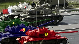 Illustration for article titled The Bahrain Grand Prix, now with tanks