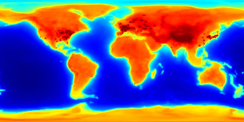 Illustration for article titled Glowing Antineutrino Map Shows How Radioactive the Earth Is