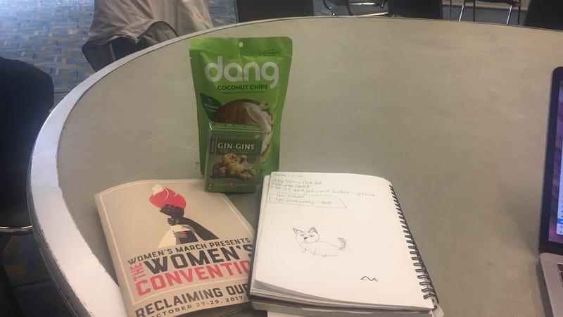 The glamorous press room and my snacks. Photo: Megan Reynolds