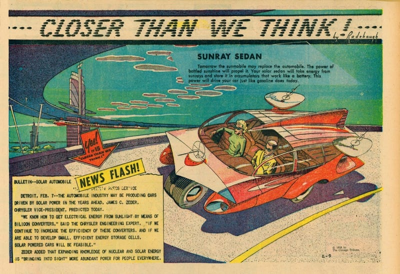 The February 9, 1959 edition of Arthur Radebaugh's Closer Than We Think Sunday comic strip